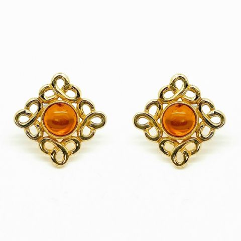Genuine 9ct Yellow Gold Celtic Style Stud Earrings set with Real Cabochon Stone